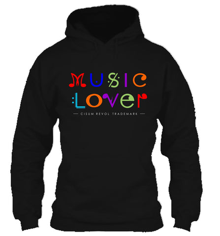 MUSIC LOVER Black Hoodie With Multi-Color Print