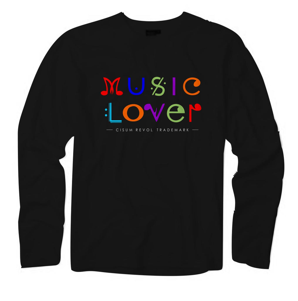 MUSIC LOVER Black Long Sleeve Tee With Multi-Color Print