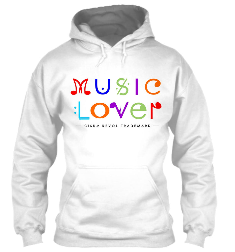 MUSIC LOVER White Hoodie With Multi-Color Print