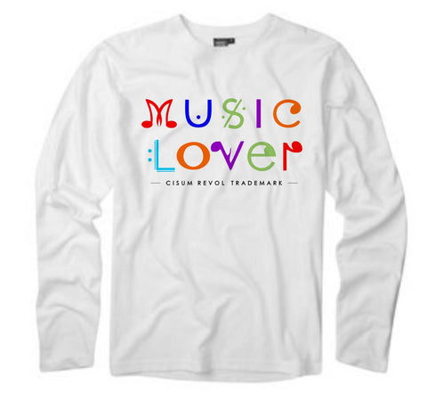 MUSIC LOVER White Long Sleeve Tee With Multi-Color Print