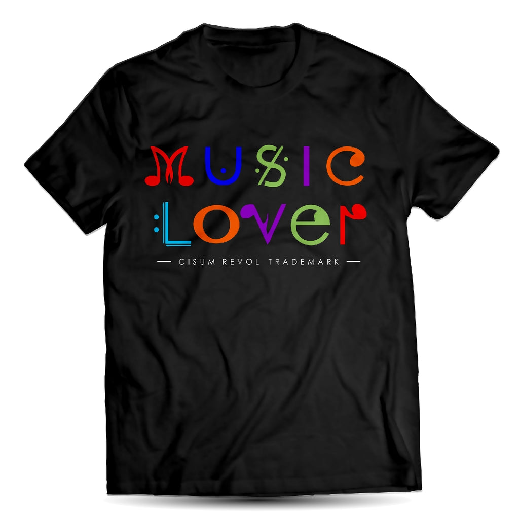 MUSIC LOVER Black Tee With Multi-Color Print