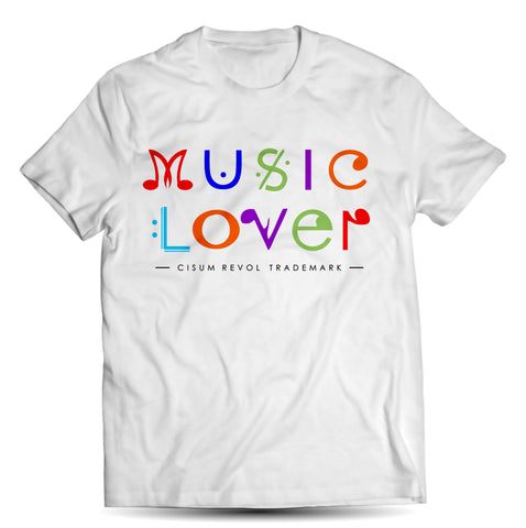 MUSIC LOVER White Tee With Multi-Color Print