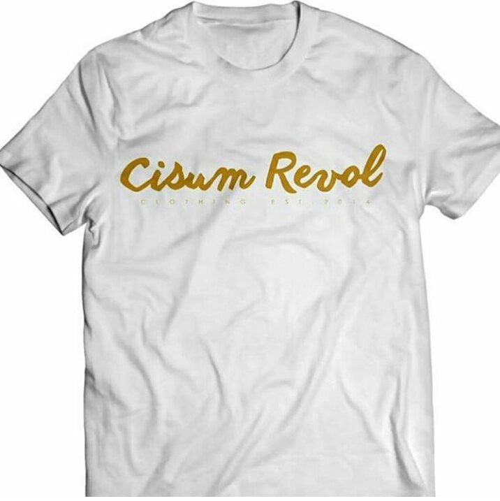 Cisum Revol White Short Sleeve T-Shirt w/ Gold Print
