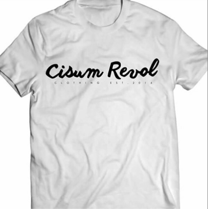 Cisum Revol White Short Sleeve T-Shirt w/ Black Print