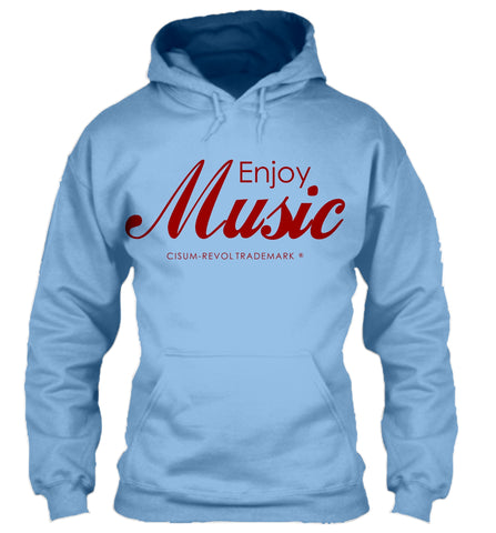 Enjoy Music Carolina Blue Hoodie with Red Print