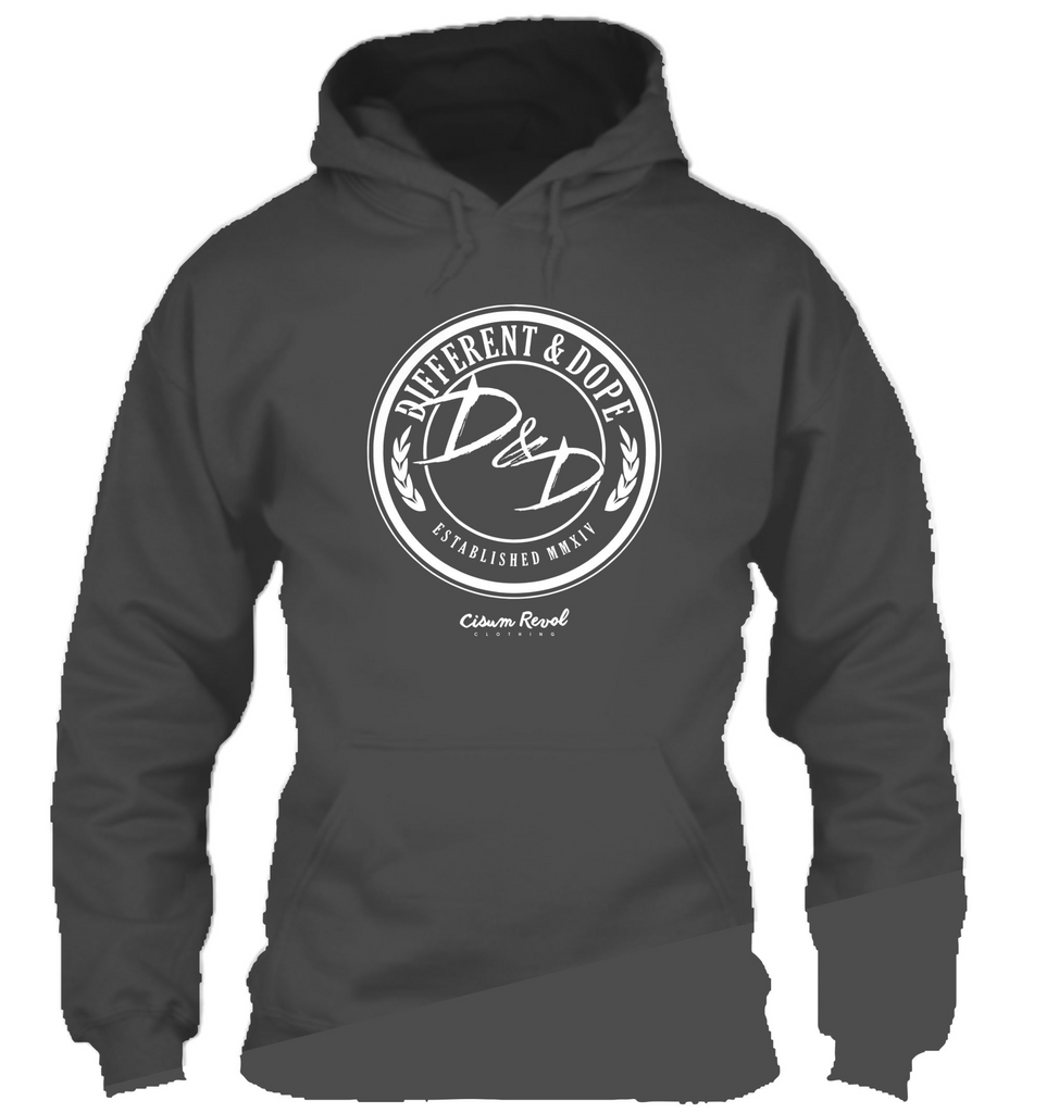 Different & Dope (D&D) Grey Hoodie with White Print