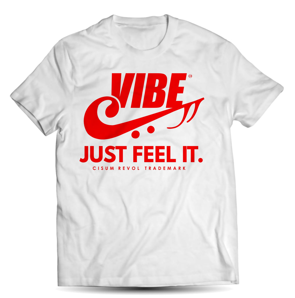 """VIBE"" White Tee with Red Print"