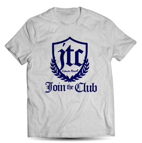 """JTC Tee"" (Join The Club) White T-shirt with Royal Blue Print"