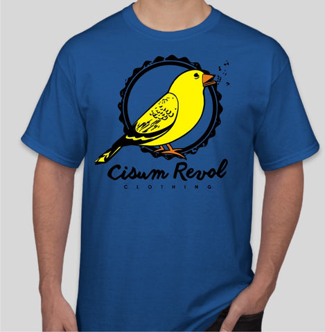 """Canary Collection"" Royal Blue Tee with Orange, Yellow & Black Print"