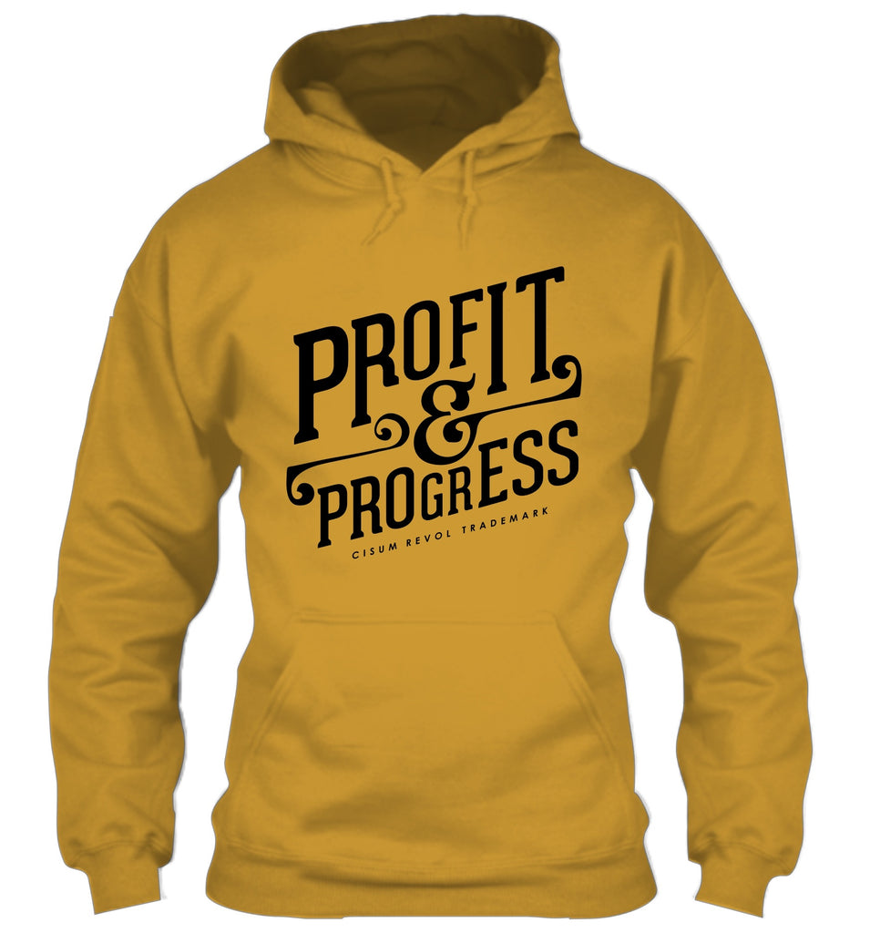 """Profit & Progress"" Gold Hoodie with Black Print"