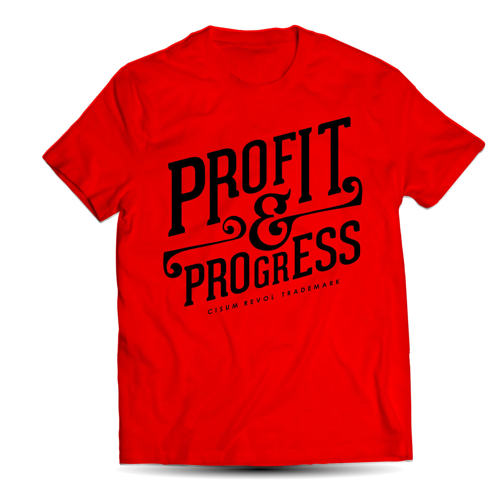 """Profit & Progress Tee"" Red Tshirt with Black Print"