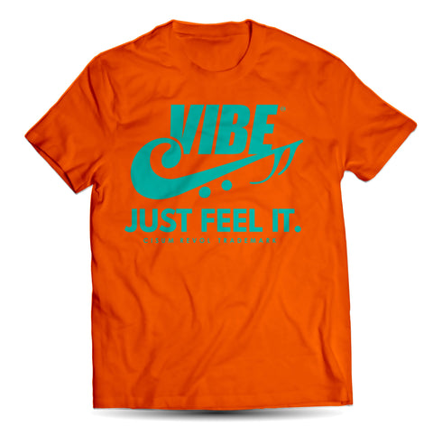 """VIBE"" Orange Tee with Turqoise Print"