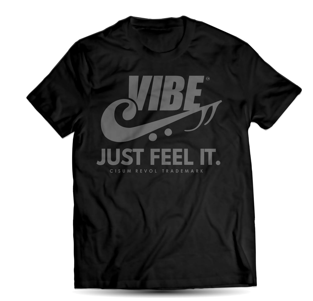 """VIBE"" Black Tee with Grey Print"