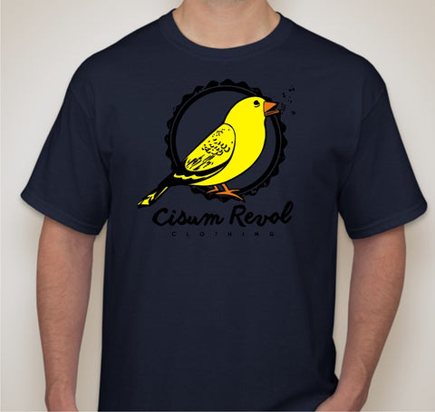 """Canary Collection"" Navy Blue Tee with Orange, Yellow & Black Print"