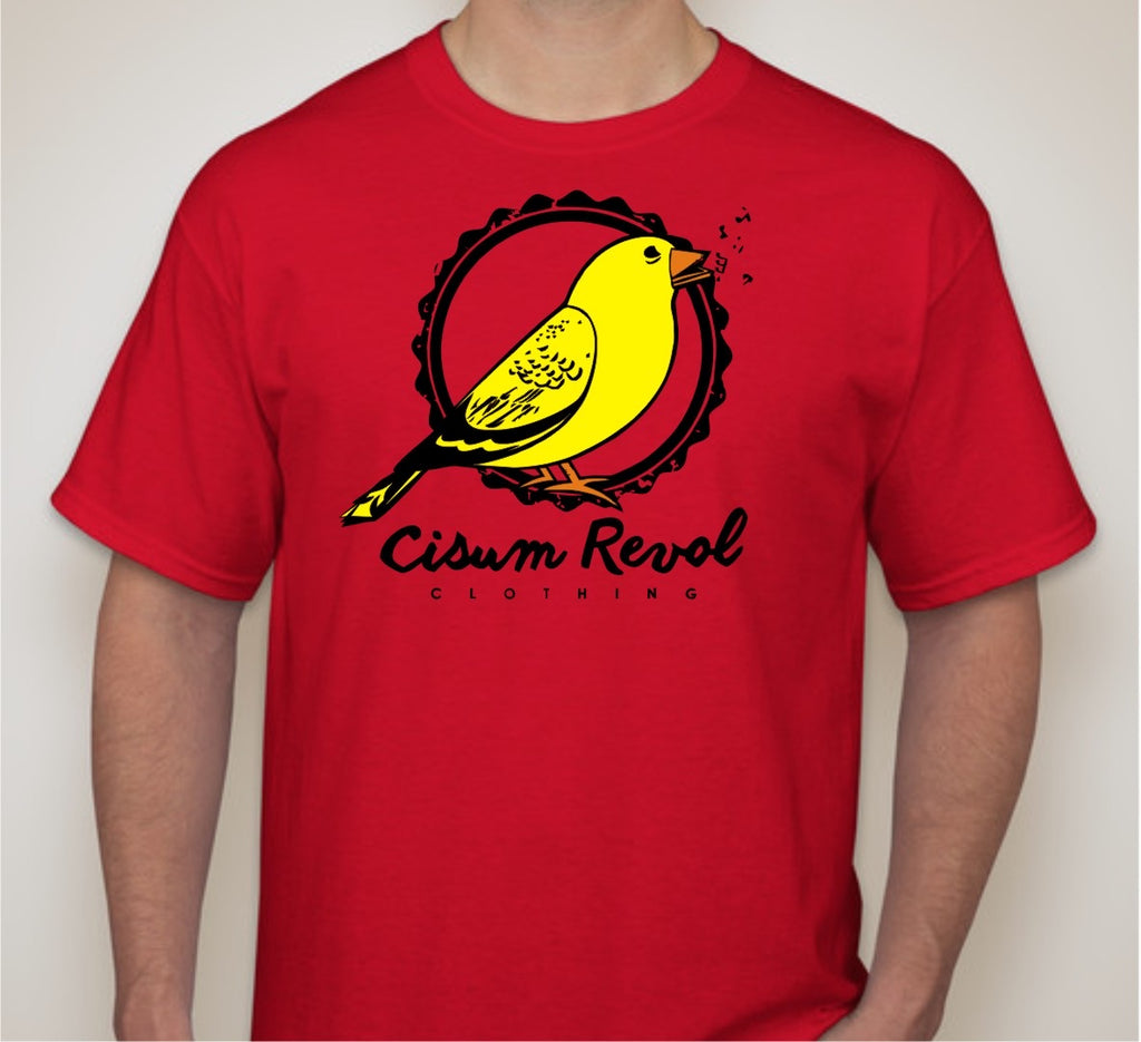"""Canary Collection"" Red Tee with Orange, Yellow & Black Print"
