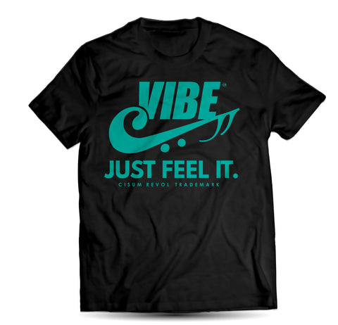 """VIBE"" Black Tee with Turqoise Print"