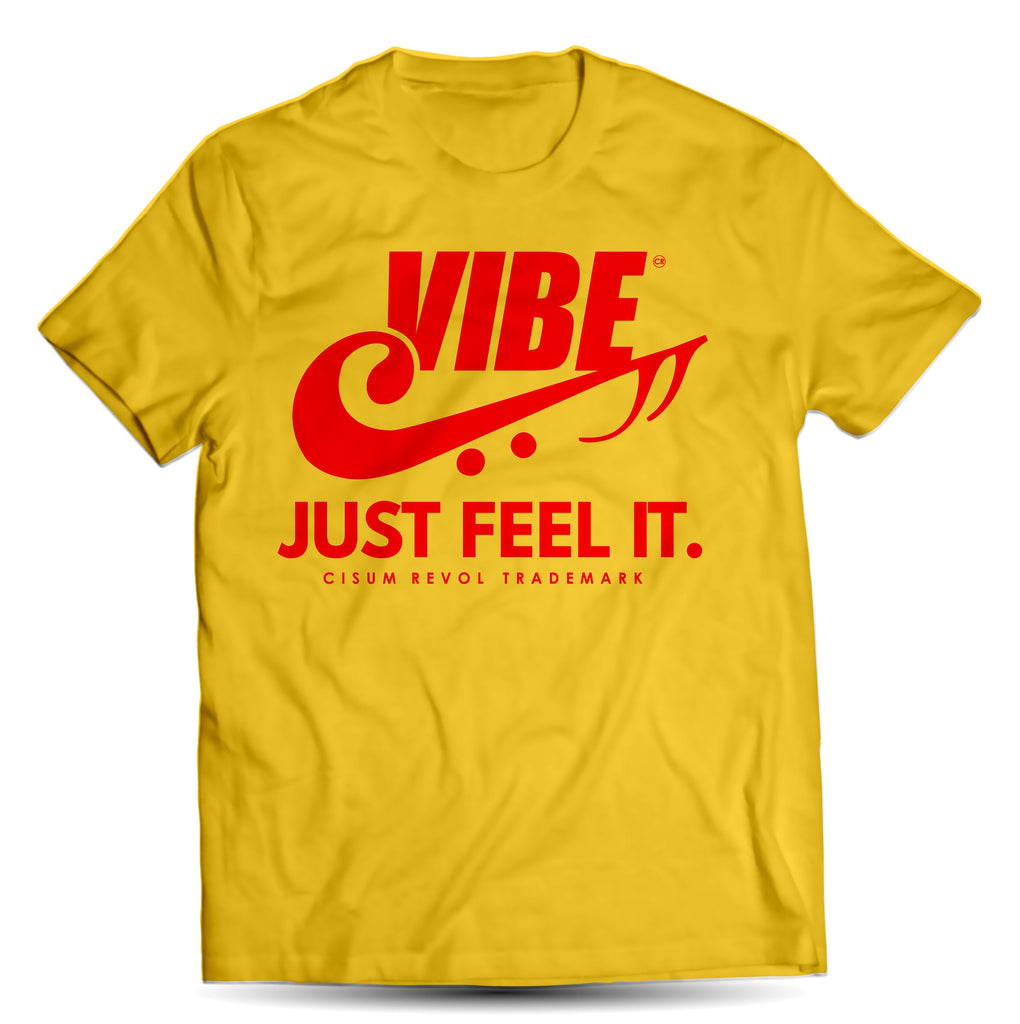 """VIBE"" Yellow Tee with Red Print"