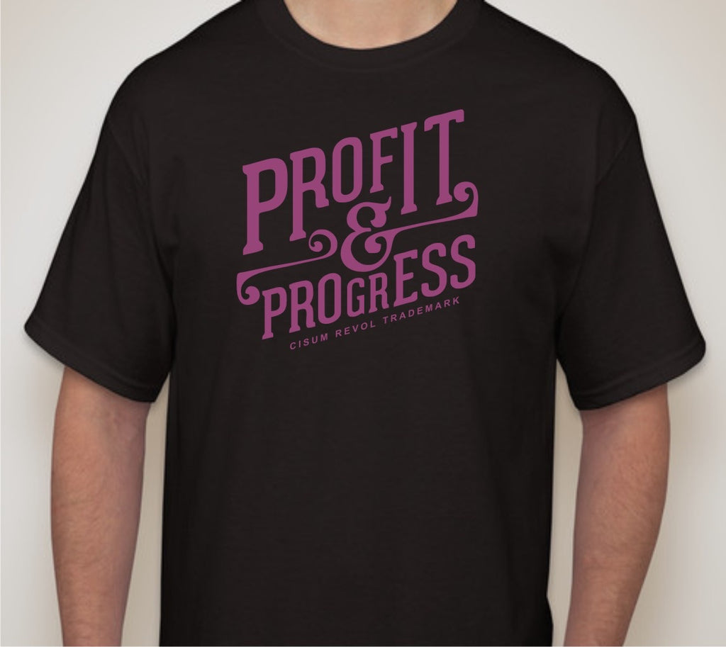 """Profit & Progress Tee"" Black T-shirt with Purple Print"