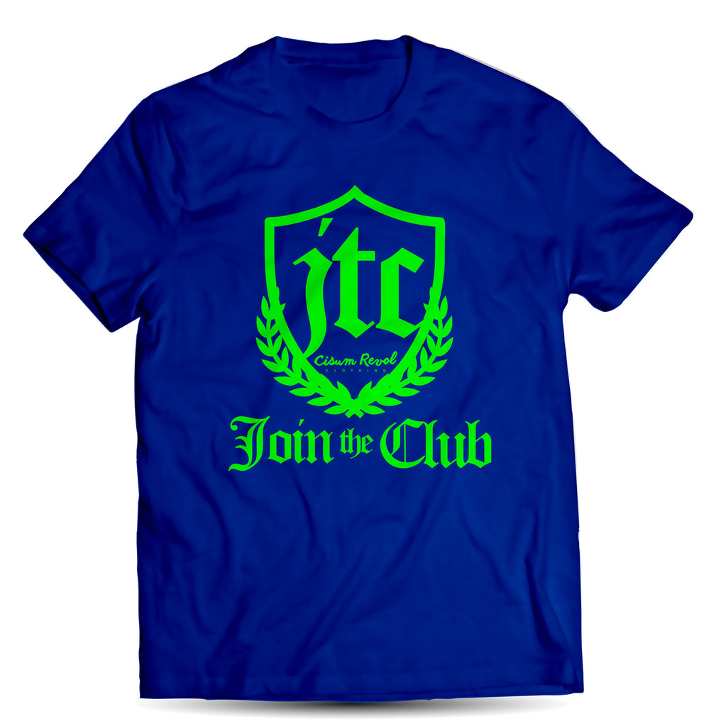 """JTC Tee"" (Join The Club) Royal Blue T-shirt with Lime Green Print"