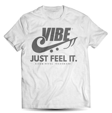 """VIBE"" White Tee with Grey Print"