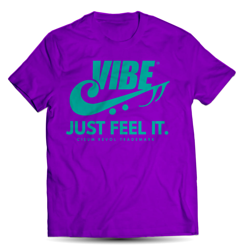 """VIBE"" Purple Tee with Turqoise Print"