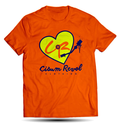 """Phonographic Tee"" Orange Tee with Neon Yellow & Navy Blue Print"