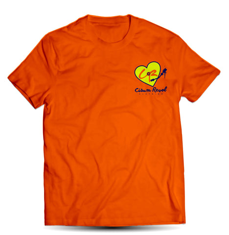 """Phonographic Tee"" (Small Logo) Orange Tee with Neon Yellow & Navy Blue Print"