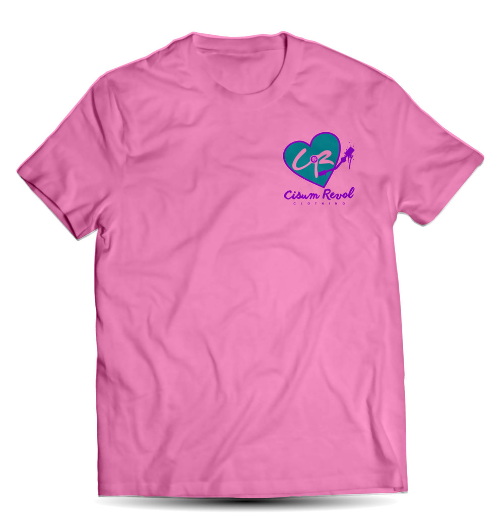 """Phonographic Tee"" (Small Logo) Pink Tee with Turquoise & Purple Print"
