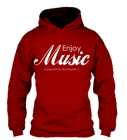 Enjoy Music Maroon Hoodie with White Print