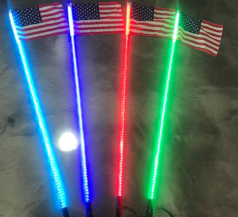 ATV-UTV-RZR-YXZ-CanAm X3-Off Road 5ft 20 Color 200 Combination LED Lighted Whip