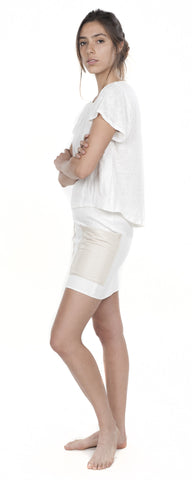 Mini Linen Skirt with Leather Pockets