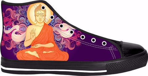 Purple Buddha Black High Tops