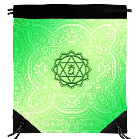 Fourth Green Anahata Heart Chakra Drawstring Bag