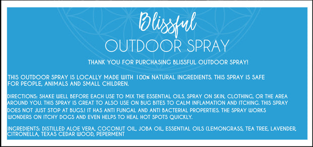 Blissful Outdoor Spray - 4oz All Natural Bug spray, bug repellent, antibacterial, antifungal