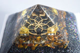 Tiger Eye Seed of Life Orgonite Pyramid - Flower of life orgone pyramid