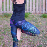 Black Rainbow Chakra Leggings - Yoga - Extreme sports - Climbing - Exercise Legings