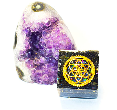 seed of life cube shape orgonite