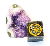 Sacred Geometry Black Orgonite Cube