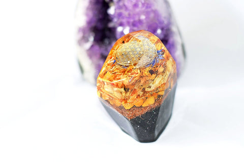 Yellow Jasper and Wildflower with Flower of Life Charm Crystal Shaped Orgonite - With real dried flowers