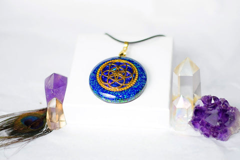 Azurite and Malachite Seed of Life Orgonite Pendant