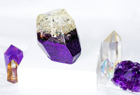 Clear Quartz and Amethyst Crystal Shaped Orgonite