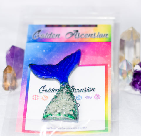 Green Glow in the Dark Orgonite Mermaid tail - Lapis Lazuli