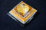 Tiger Eye Sacred Geometry Orgonite Pyramid - With Seed of Life Charm - Glow in the Dark