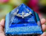 Indigo Blue Goddess Isis Orgonite Pyramid - Glow in the Dark - Lapis Lazuli