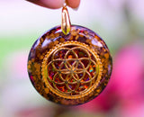 Large Tiger Eye and seed of Life Orgonite Pendant