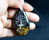 Tiger Eye Tree of Life Orgonite Pendant