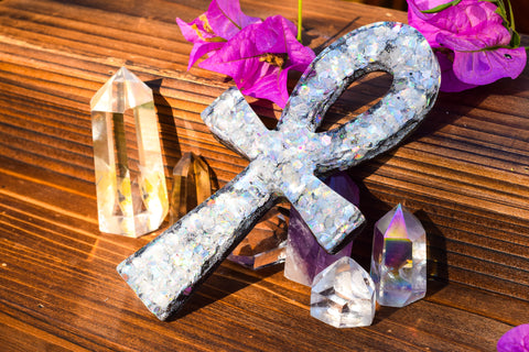 Holographic Clear Quartz Orgone Energy Ankh