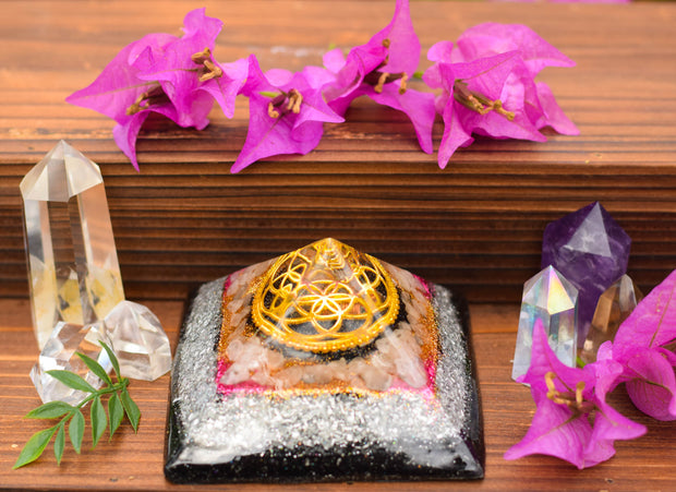 Rose Quartz Sacred Geometry Orgonite Pyramid - With Seed of Life Charm