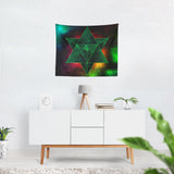 Green Abstract Tetrahedron Tapestry - 3 Sizes