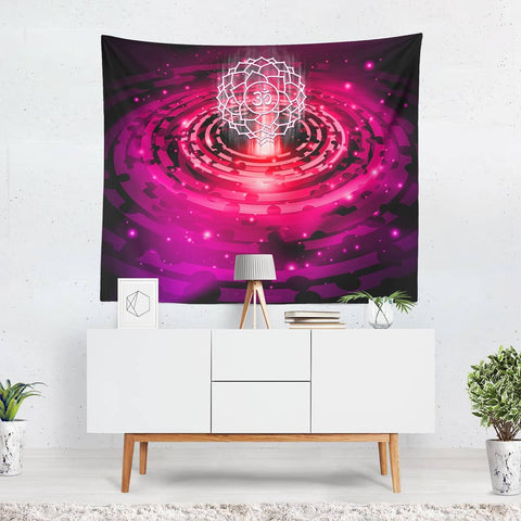 Cosmic Pink Crown Chakra Tapestry - 3 Sizes available Boho wall decor, wall hanging, new age, spiritual art - Version 2.0